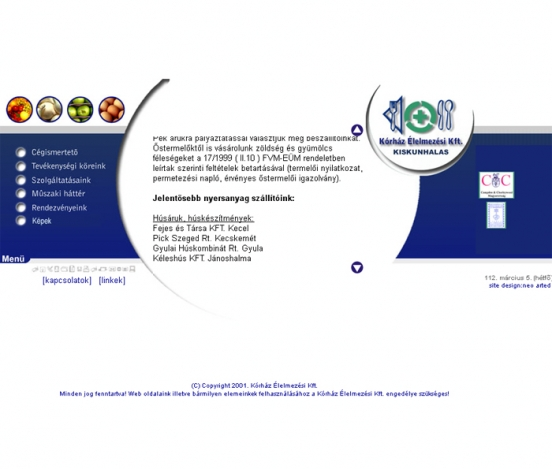Korház Élelmezés Kft. web